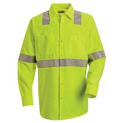 Red Kap SS14, Men's ANSI 107-2004 Class 2 Level 2 Hi-Visibility Long Sleeve Shirt