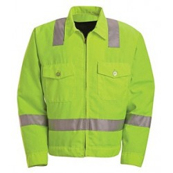 Red Kap JY32HV, ANSI 107-2004 Class 2 Level 2 Compliant Hi-Visibility Ike Jacket