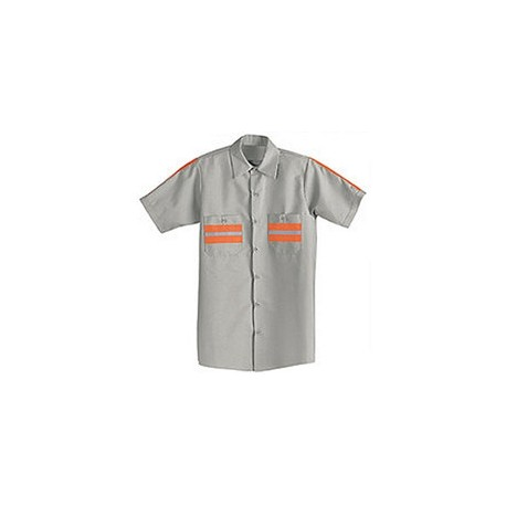 Red Kap SP24WM, Men's Enhanced Visibility (Lt. Gray w/Orange Trim) Short Sleeve Shirt