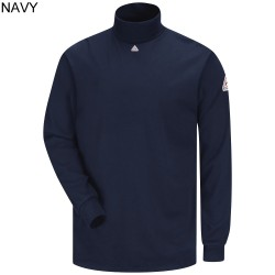 "Bulwark SEK2NV Excel-FR™ 6.25 oz. 100% Cotton, ""Navy"" Tagless Long Sleeve Mock Turtleneck"