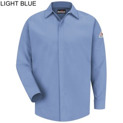 Bulwark SLS2LB Excel-FR™ ComforTouch™ 7 oz. 88% Cotton/ 12% Nylon, Concealed Gripper (Light Blue) Pocketless Shirt