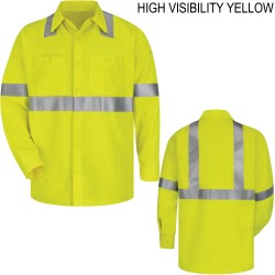 Bulwark SMW4HV, Hi-Visibility Flame Resistant Long Sleeve Work Shirt