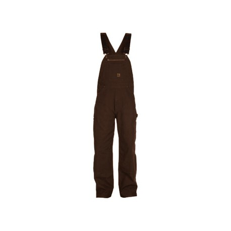 Berne B1068BB, Bark Color Unlined Washed Zip To Knee Duck Bib Overall